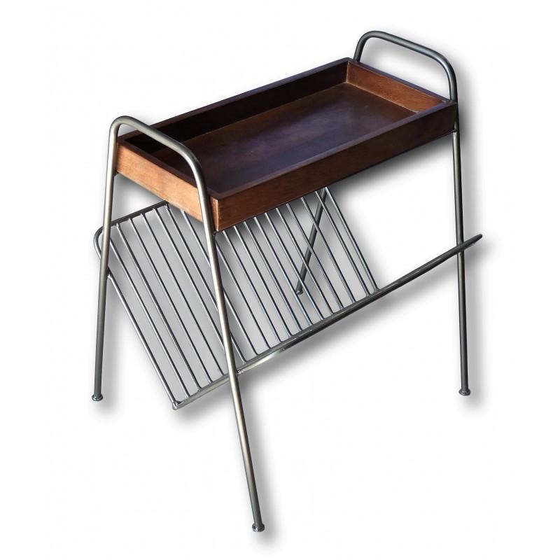 Beistelltisch / Zeitschriftenhalter aus Metall und Mangoholz