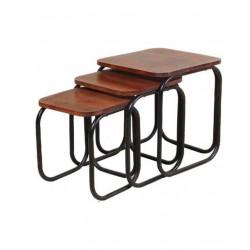 Satztisch-Set 3 tlg, mit Tischplatte aus Mangoholz