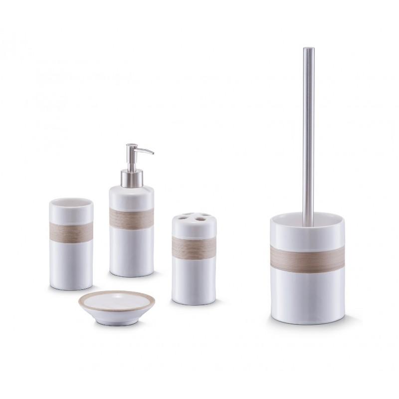 Bad Accessoire Set 5-teilig Keramik Design beige-braun weiss Badezimmer  Seifenspender WC-Bürste Zahnpflege Zubehör