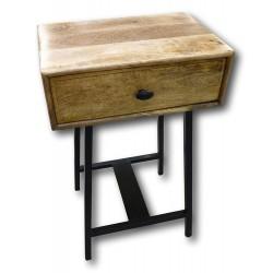 Nachttisch aus Mangholz mit Metallgestell