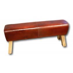 Sitzbank Leder rot-braun